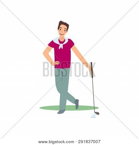 Smiling Golf Player Standing With Club Satisfied Good Game
