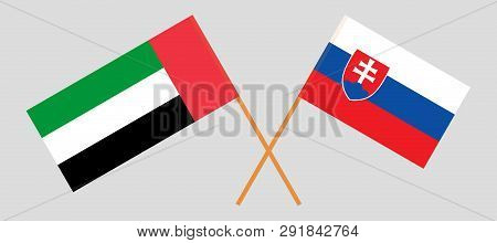 Slovakia And United Arab Emirates. The Slovakian And Uae Flags. Official Colors. Correct Proportion.