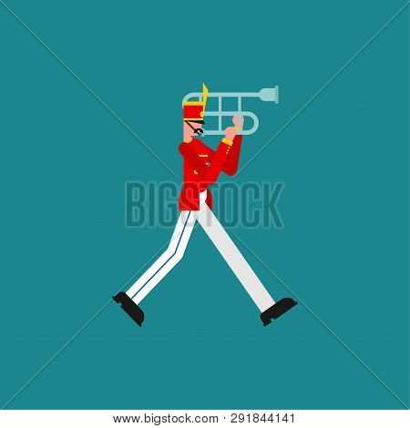 Soldier And Trombone. Soldier With Musical Instrument. Military Band