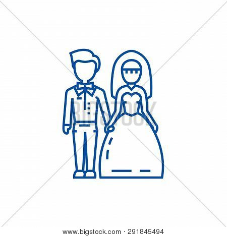 Wedding Couple, Bride And Groom Line Icon Concept. Wedding Couple, Bride And Groom Flat  Vector Symb