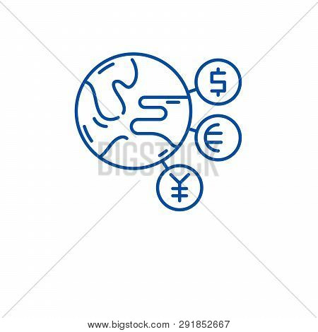 World Currency Line Icon Concept. World Currency Flat  Vector Symbol, Sign, Outline Illustration.