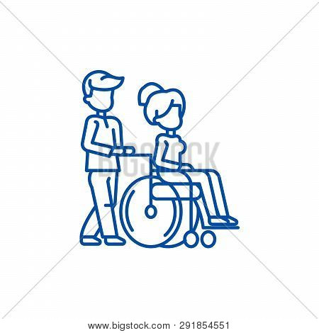 Young man strolling with young woman in  line icon concept. Young man strolling with young woman in  flat  vector symbol, sign, outline illustration. poster