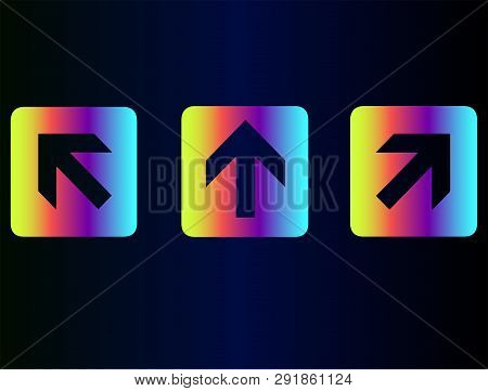 It And Technology, Web Site Design, Vector Buttons Arrows. . Neon Rainbow Pointers, Arrows - Arrow I