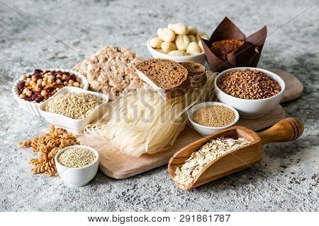 Gluten Free Diet Concept - Selection Of Grains And Carbohydrates For People With Gluten Intolerance,