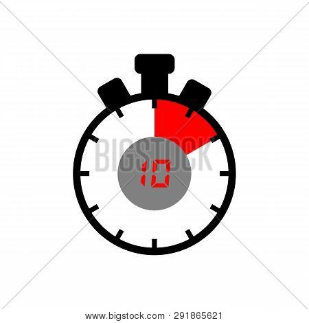 10 Minute Icon Isolated With A White Background. A Simple 10 Minute Sign Icon. The Red Black Isolate