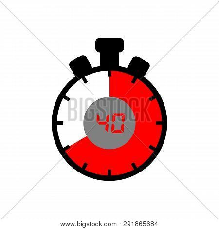 40 Minute Icon Isolated With A White Background. Simple 40 Minute Sign Icon. The Red-black Isolated