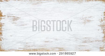White Painted Wood Texture Seamless Rusty Grunge Background, Scratched White Paint On Planks Of Wood