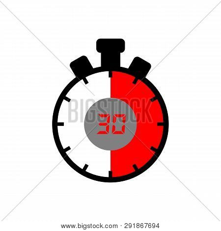 30 Minute Icon Isolated With A White Background. Simple 30 Minute Sign Icon. The Red-black Isolated