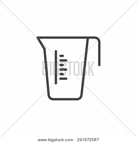 Measuring Cup Line Icon. Linear Style Sign For Mobile Concept And Web Design. Carafe Container Jug O