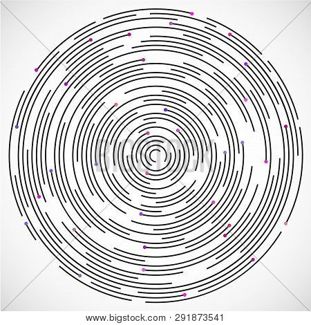 Concentric circulating, circle line and color points. Abstract vortex line and color dot background. Vector illustration for design your website and print. Logo design element. poster