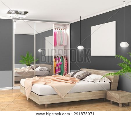 Modern Bedroom With Dark Walls, Large Closet With Mirrored Doors And Large Bed, Empty Canvas On The