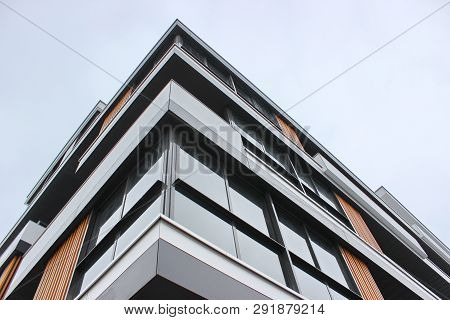 Construction Of Modern Residential Buildings. Combination Of Different Materials And Textures In The
