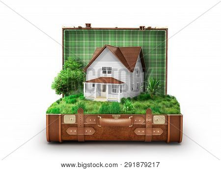 House With A Lawn In An Open Suitcase Isolated On White Background