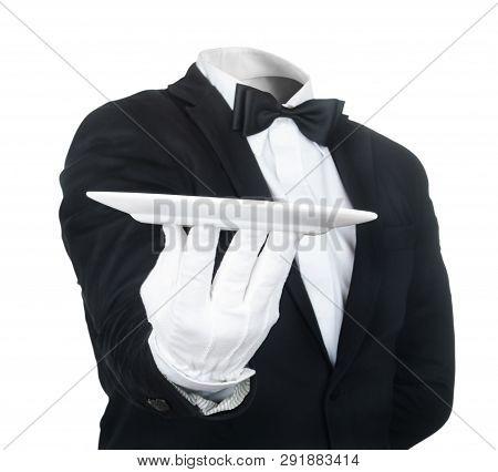 Waiter Holding Plate Isolated  On White Background
