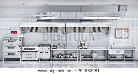 Industrial Metal Kitchen Restaurant Kitchen. 3d Illustration