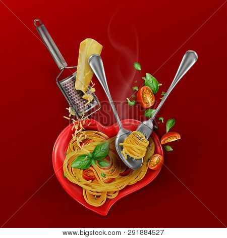 Presentation Of A Culinary Recipe For Cooking Pasta. Spaghetti With Cherry Tomatoes, Basil, Parmesan