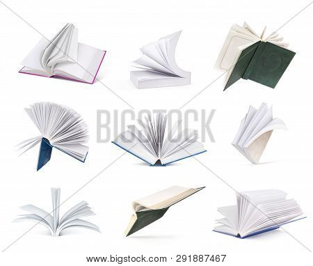 Set Of Open Books With Clean Pages Isolated On White Background