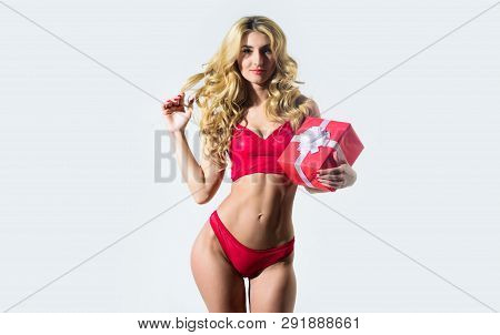 Erotic Gift. Girl Slim Sexy Fashion Model Curly Hairstyle. Woman Wear Sexy Erotic Lingerie. Sexy Und