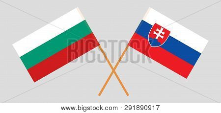 Slovakia And Bulgaria. The Slovakian And Bulgarian Flags. Official Colors. Correct Proportion. Vecto