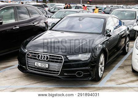 Geneva, Switzerland - March 10, 2019: Motor Car Audi S7 In The City Street.