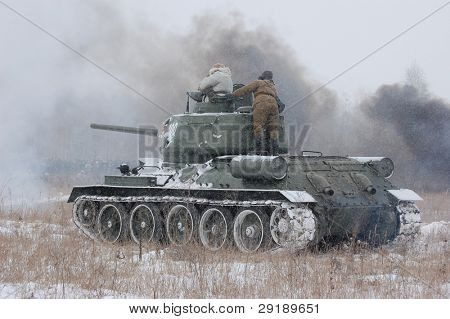 KIEV, UKRAINE - FEB 20: A members of military history club RedStar  wear historical Soviet uniform  during historical reenactment of WWII,February 20, 2011 in Kiev, Ukraine