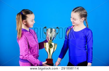 Winners In Competition. Victory Of Teen Girls. Sport Success. Acrobatics And Gymnastics. Little Girl