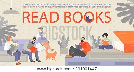 Banner With People Sitting On Huge Book And Reading. People Of Different Ages Are Passionate About R