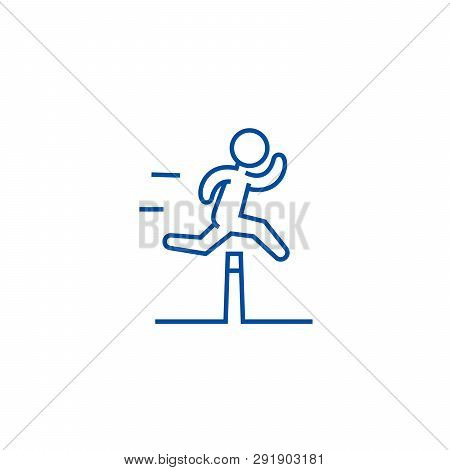 Obstacle Race Concept Line Icon Concept.  Obstacle Race Concept Flat  Vector Symbol, Sign, Outline I