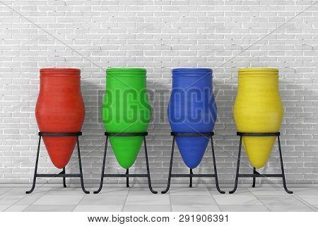 Multicolour Clay Trash Bin Pots In Front Of Brick Wall. 3d Rendering
