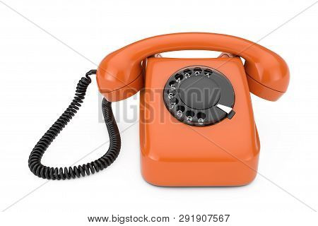 Orange Vintage Styled Rotary Phone On A White Background 3d Rendering