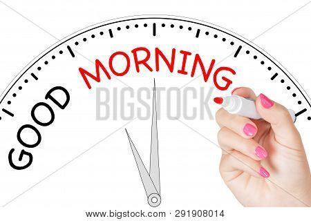 Woman Hand Writing Good Morning Message With Red Marker On Transparent Wipe Board On A White Backgro