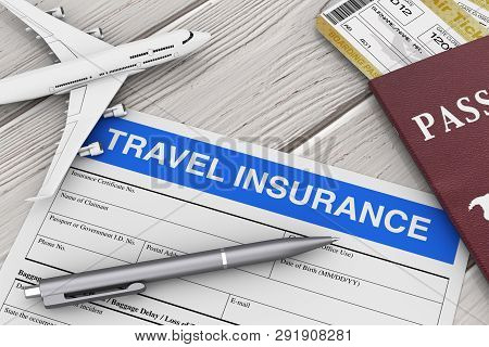 Travel Insurance Form Near Aircraft Model, Passport And Air Tickets On A Wooden Table Extreme Closeu