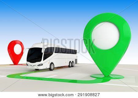 Bus Travel Concept. Big White Coach Tour Bus From Above Of Abstract Navigation Map With Target Map P