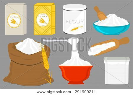 Illustration On Theme Big Set Different Types Dishware Filled Wheat Flour. Wheat Flour Pattern Consi