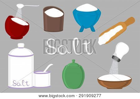 Illustration On Theme Big Set Different Types Filled Salty Salt, Colored Bowl Various Size. Salty Sa