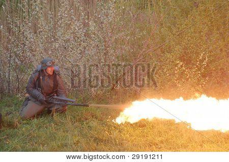 German soldier with flame-thrower. WW2 reenactment in Kiev,Ukraine poster