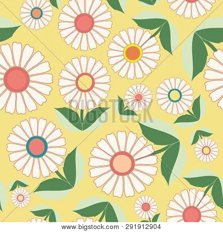 White Flowers And Green Leaves In Floral Folk Art Design. Seamless Vector Pattern On Fresh Yellow Ba