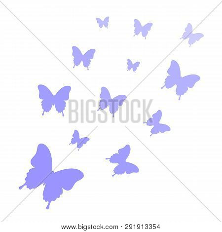 Butterflies Isolated On White Background. Butterflies Trail. Butterfly Background. Vector