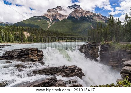 Athabasca Falls Is A Waterfall In Jasper National Park On The Upper Athabasca River Of The Townsite