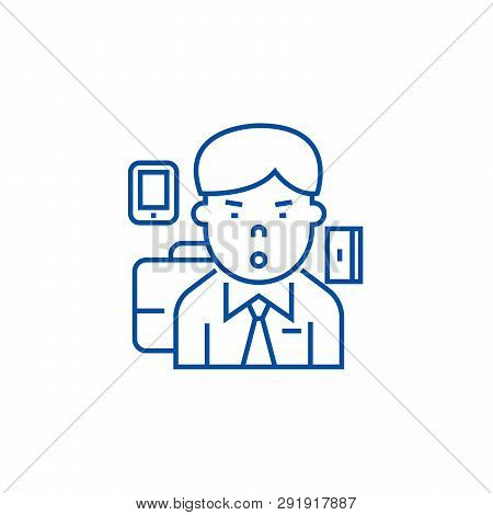 Manager, Ceo Line Icon Concept. Manager, Ceo Flat  Vector Symbol, Sign, Outline Illustration.