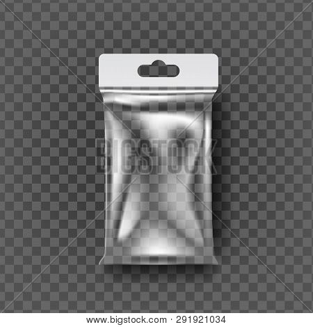 Plastic Pouch Bag Vector. Transparent Pocket Wrap With Hang. Empty Product Polyethylene Mock Up Temp