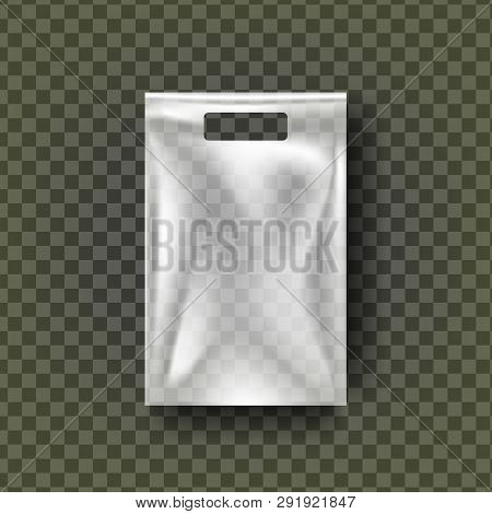 Plastic Hang Pouch Vector. Transparent Pocket Wrap. Empty Bagged Product Polyethylene Mock Up Templa
