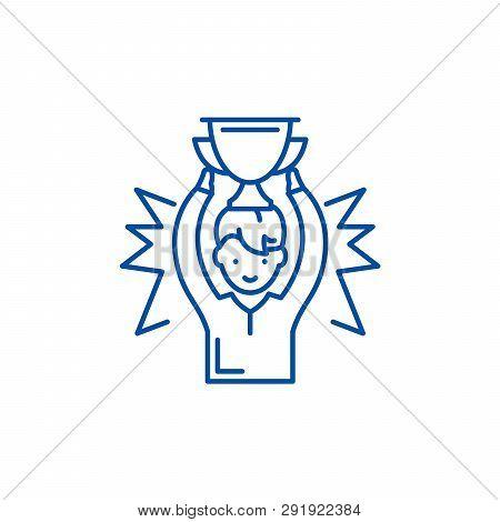 Medalist Line Icon Concept. Medalist Flat  Vector Symbol, Sign, Outline Illustration.