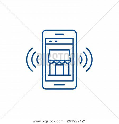 Mobile Electronic Store Line Icon Concept. Mobile Electronic Store Flat  Vector Symbol, Sign, Outlin