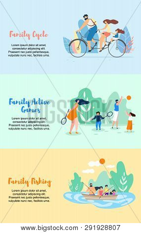 Family Cycle Active Games Family Fishing Vector Flat Illustration Banner. Parents With Children Play