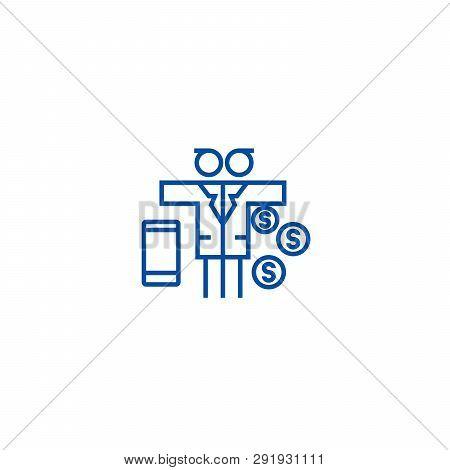 Multi Tasking Problem, Man With Money  Line Icon Concept. Multi Tasking Problem, Man With Money  Fla