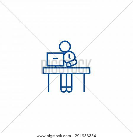 Office Time Management Line Icon Concept. Office Time Management Flat  Vector Symbol, Sign, Outline