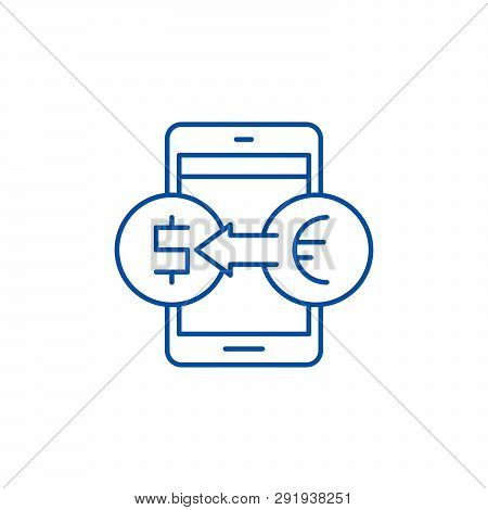 Online Currency Exchange Line Icon Concept. Online Currency Exchange Flat  Vector Symbol, Sign, Outl