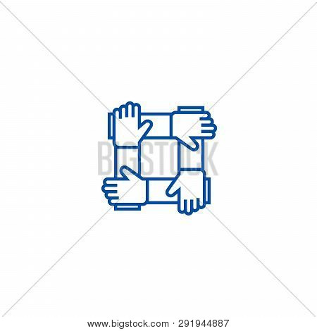Partnership, Collaboration, Help Line Icon Concept. Partnership, Collaboration, Help Flat  Vector Sy