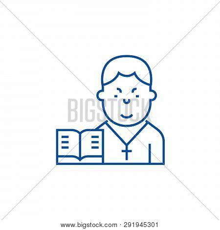 Pastor Line Icon Concept. Pastor Flat  Vector Symbol, Sign, Outline Illustration.